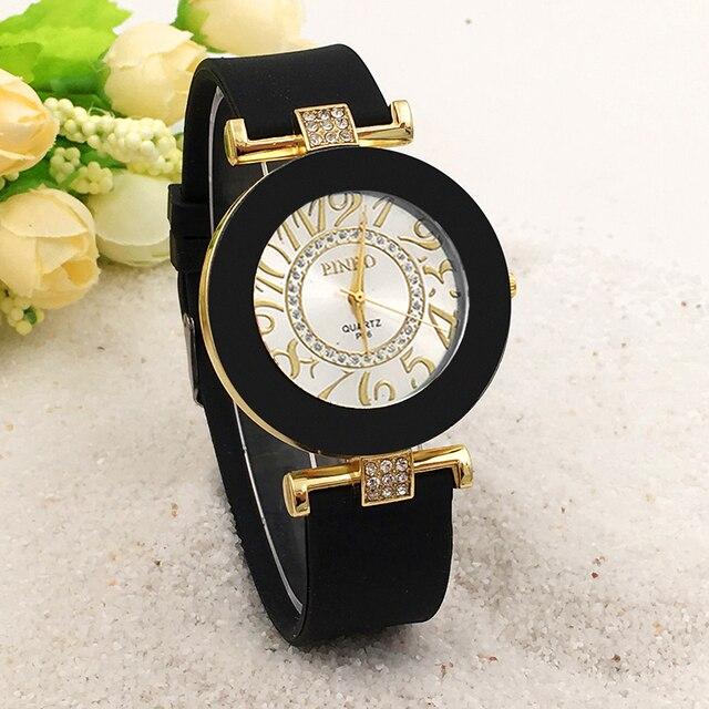 71bad71d1bb 2019 de Moda de Nova PINBO Famosa Marca Ouro Relógio Das Mulheres De  Silicone Relógios de Quartzo Relogio feminino Vestido Ocasional Relógio de  Pulso Preto ...