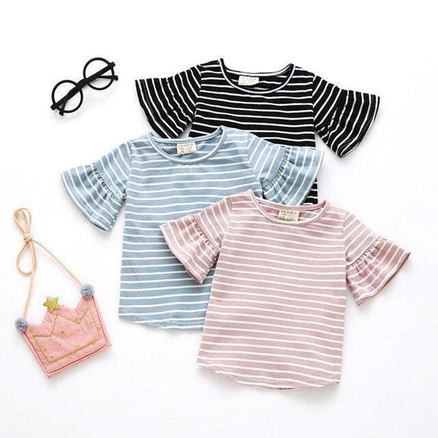 פרפר שרוול מזדמן T חולצת פסים O צוואר קיץ חולצה ילדה ילדים ילדי בגדים טי חולצות חולצות חמוד פעוט תינוק 0-4Y