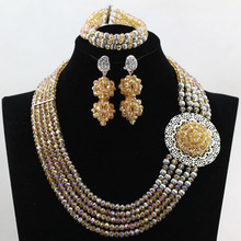 Luxury Champagne Crystal Necklaces Bracelet Earrings African Nigerian Wedding Beads Jewelry Set Free Shipping HX594