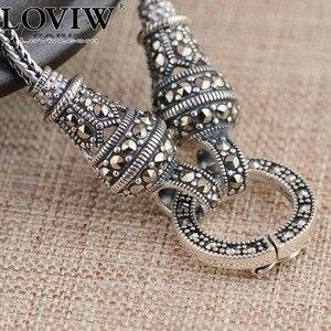 Тайское длинное ожерелье для женщин, серебряное ожерелье с подвеской из мраморного камня s 1,5 мм 60 см 70 см 75 см 80 см