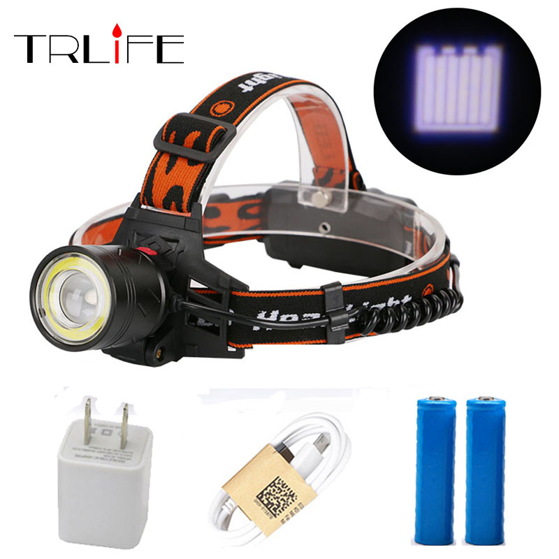10000 Lumens LED Head Light zoom Headlamp XM-T6 COB Headlight USB Light LED Head Lamp Flashlight Torch for 2*18650 Battery