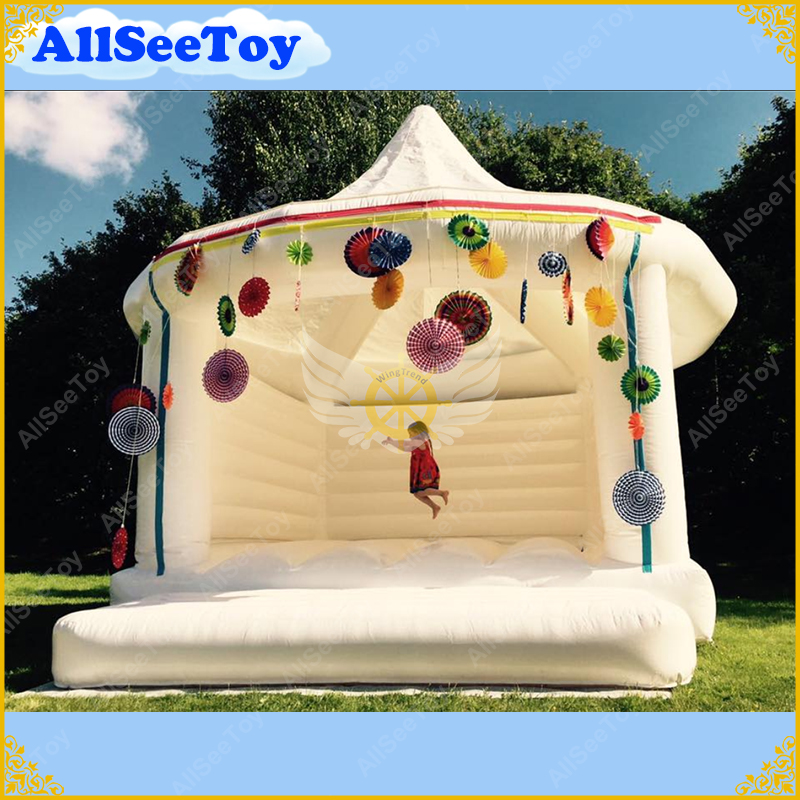 White Inflatable Bouncy Castle Inflatable Bouncer for Wedding Events Party Good Quality for Rental tarpaulin inflatable bouncy castle bouncer for children party indoor