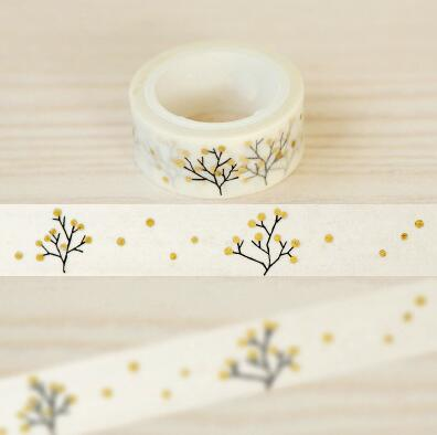 JG401  1.5CM Wide Bronzing Wishing Tree Washi Tape DIY Scrapbooking Sticker Label Masking Tape School Office Supply je307 1 5cm wide amazing library books washi tape diy scrapbooking sticker label masking tape school office supply