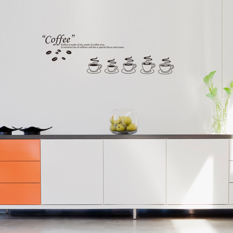 Cup Wall Decals New Designs Coffee Cups Quote Restaurant Kitchen Vinyl Wall Stickers Home Decor 8306