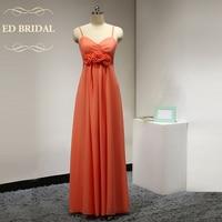 Custom Made A Linha Da Cintura Império Laranja Vestidos Dama de honra para As Mulheres Grávidas Maternidade Longo Vestido de Festa Vestido Formal