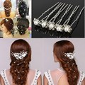 2015 New Arrive 20PCS Wedding Accessories Bridal Pearl Hair Pins Flower Crystal Hair Clips Bridesmaid Jewelry Free Shipping