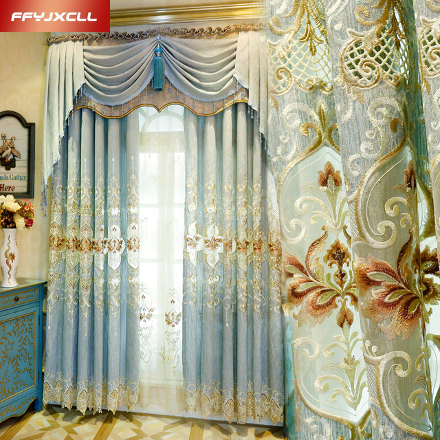 1 Pc Curtain And 1 Pc Tulle Peony Luxury Window Curtains: Custom Made Semi Shading Europe Embroidered Luxury Valance