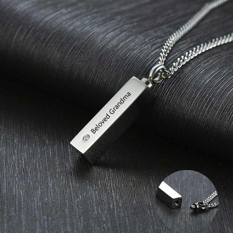 Personalized Ashes locket Necklace Silver Black Bar CZ Stainless Steel Urn Mourning Cremation Ash Pendant Necklace