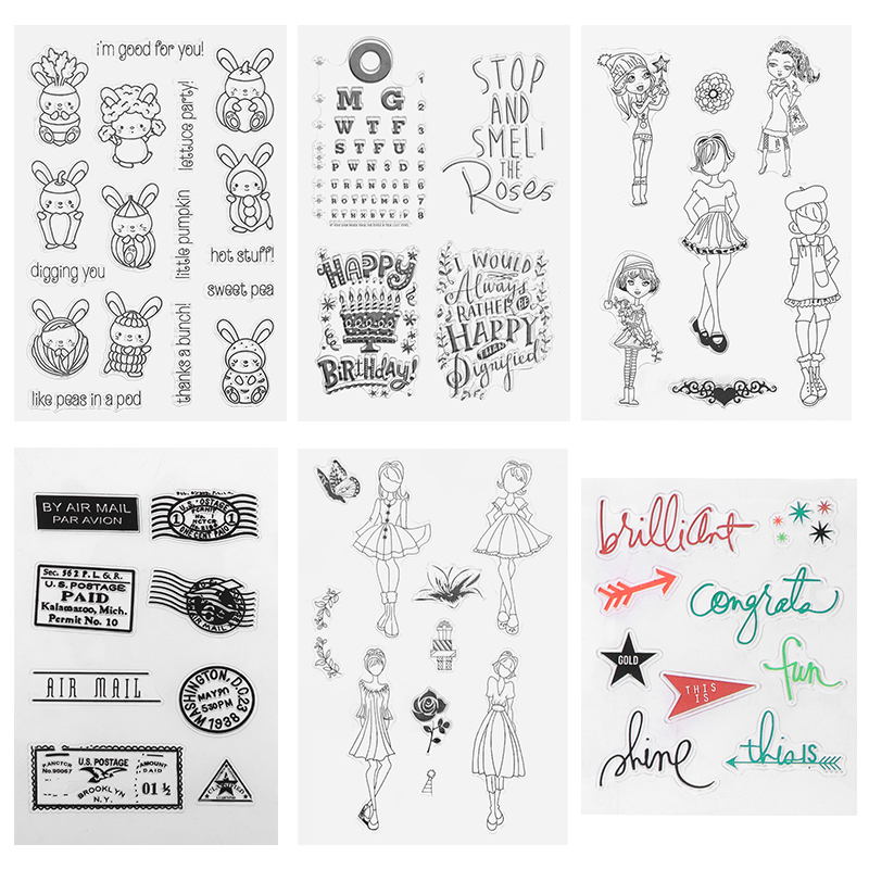 Skirt/Girls/Cute Rabbit Transparent Clear Silicone Stamp/Seal for DIY Scrapbooking/Photo Album Decorative Clear Stamp Sheets wish list transparent clear silicone stamp seal for diy scrapbooking photo album decorative clear stamp sheets