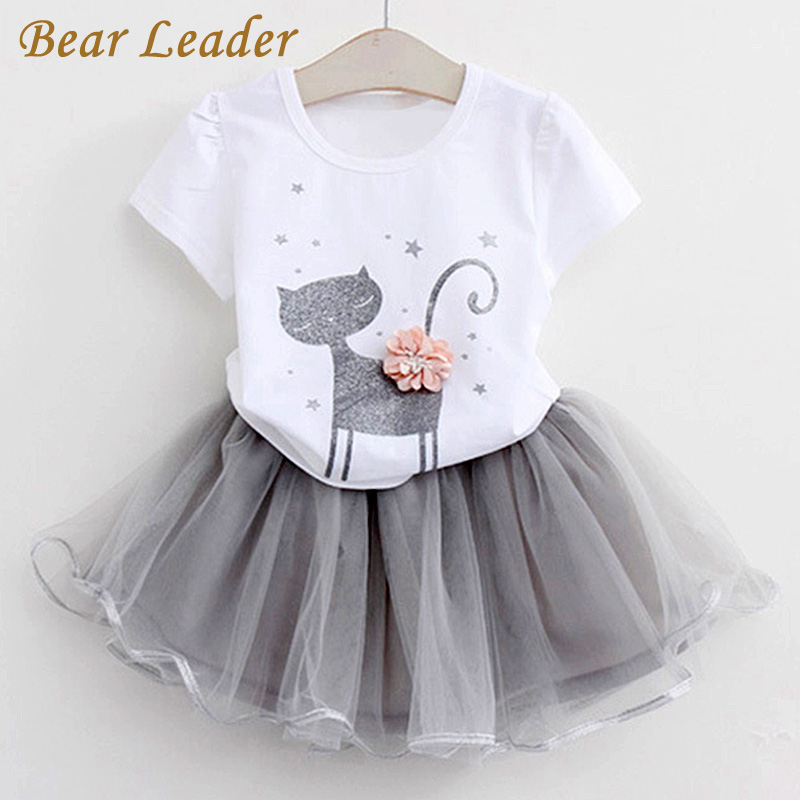 Bear Leader Girls Clothing Sets 2018 Brand Girls Clothes White Cartoon Short Sleeve T-Shirt+Veil Dress 2Pcs Children Clothes bear leader girls clothing sets 2017 brand girls clothes cartoon long sleeve girls outerwear grils skirts 2pcs for kids clothes