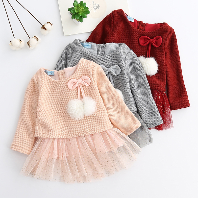 Baby Clothing 2017 Autumn Pink Girls Dresses Long Sleeved Kids Dress Tutu Bow Ruffles Velvet Infants Dress Double Level Vestidos