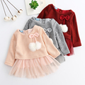 Menoea 2017 New Autumn Pink Girls Dresses Long Sleeved Kids Dress Tutu Bow Ruffles Velvet Infants Dress Double Level Vestidos