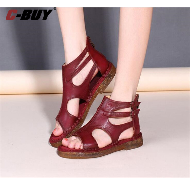 AECBUY Genuine Leather Flat Sandals Women Summer Shoes