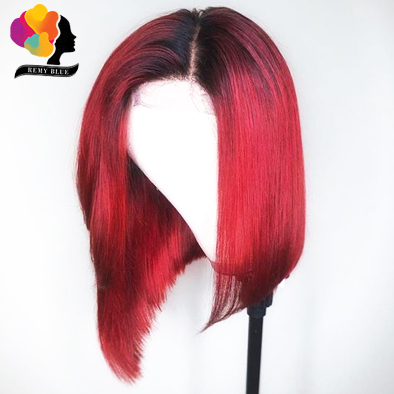 HTB1rfMDbwFY.1VjSZFnq6AFHXXa1 Brazilian Straight Hair Remy Red Bob Wigs Burgundy 13X4 Lace Front Wig With Baby Hair Pre Plucked Short Human Hair Wigs Remyblue
