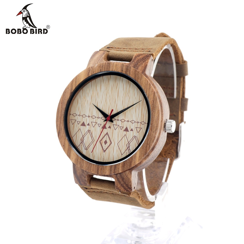 BOBO BIRD Mens Retro Design Brand Luxury Wooden Bamboo Watches With Cow Real Leather Quartz Watch