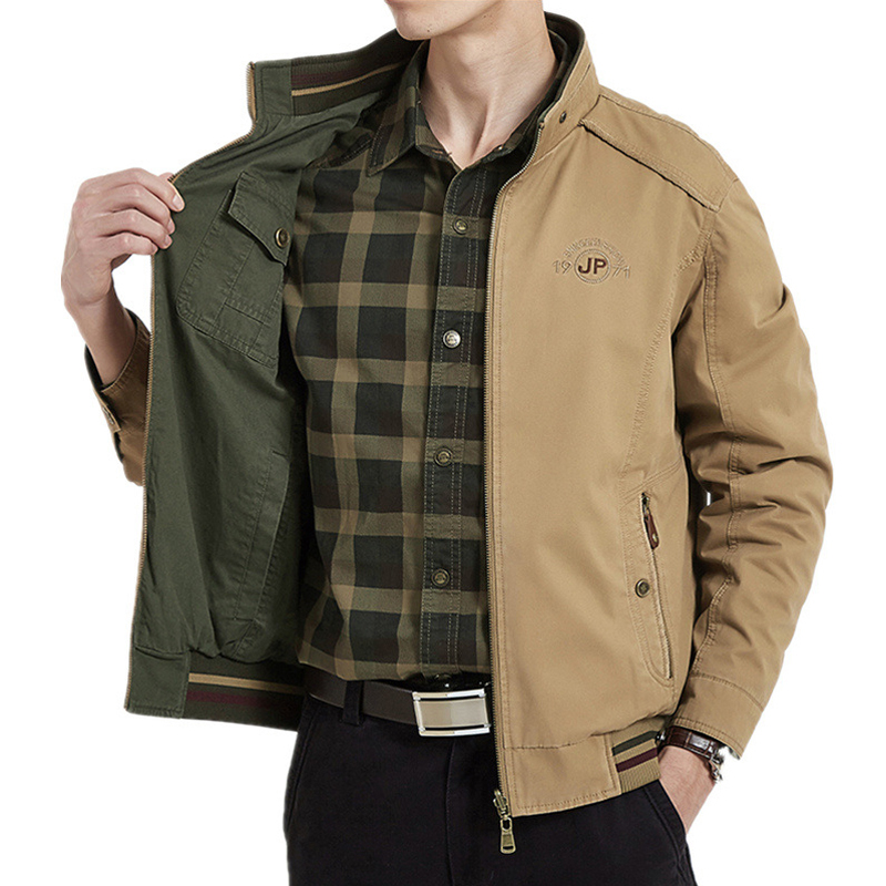 Brand Clothing Jacket Men Double-sided Military Jackets Coats Pure Cotton Men's Jacket Autumn Jaqueta Masculina Plus Size M-4XL