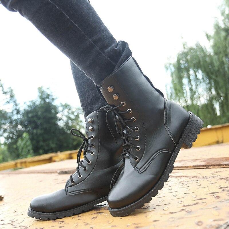 Las Otoño De Mujeres Size35 Calzado Mediados Damas Al Negro Botas 42 Mujer Med Impermeable Encaje Zapatos Primavera 2017 Nueva Libre Tacones Ternero Aire qYX8t