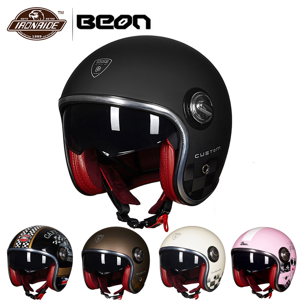 BEON Мотоцикл Мотоциклетный шлем Винтаж Мото шлем 3/4 открытый уход за кожей лица Capacete байкер ретро скутер двойной козырек
