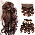Brown Hair Body Wave Lace Frontal Closure With Bundles Malaysian Virgin Hair Body Wave With Closure Human Hair Bundle With Front