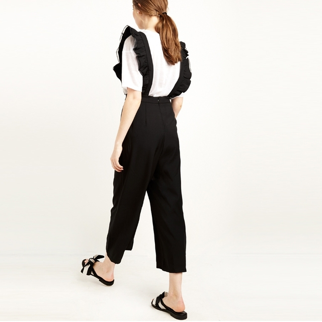 Solid Black Ruffle Casual Jumpsuit