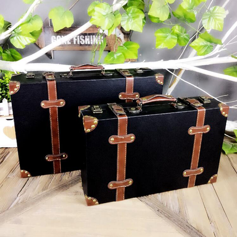 CARRYLOVE Suitcase-Set Wood-Box Hand-Luggage Retro Vintage Antique 14--16--Inch