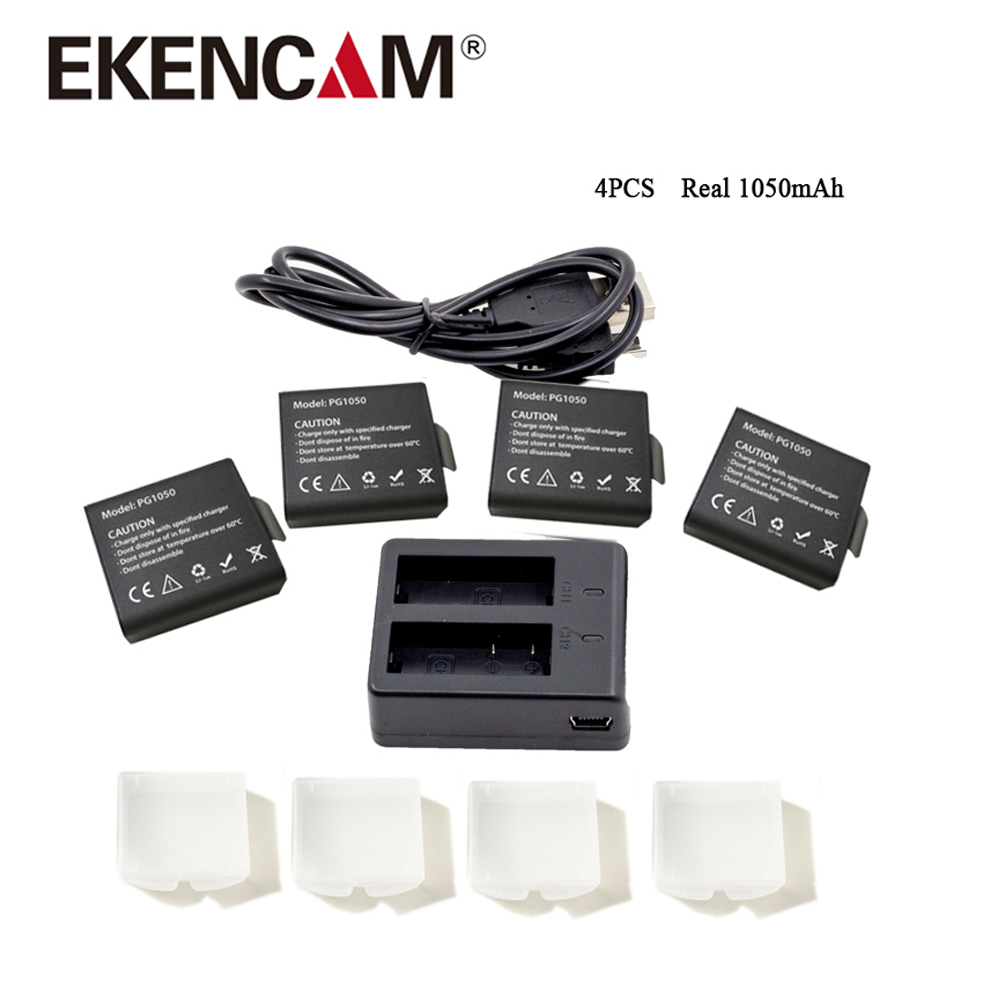 EKENCAM 4pcs Real 1050mAh Li-ion Batteries with Dual Charger for all SJCAM SJ4000 SJ5000 and EKENCam H9 H9r H3 H8r W9 G3 2x 1050mah action camera battery dual charger for eken h9 h9r h3 h3r h8 h8r h8 sjcam sj4000 sj5000 sport dv batteria