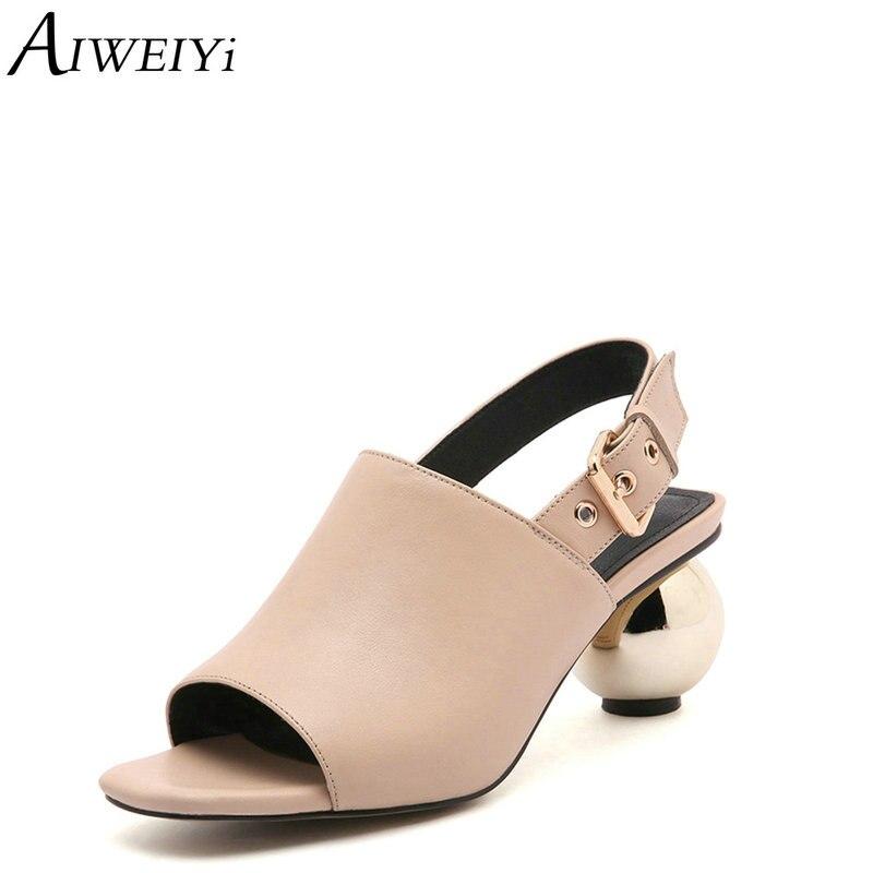 AIWEIYi escarpins pour femmes en cuir véritable mode bout ouvert boucle sangle talon étrange talons hauts chaussures femme Slingbacks escarpins noirs