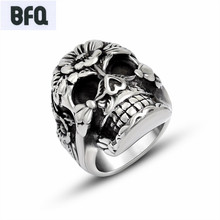 BFQ retro flowers and skulls rings for men old black stainless steel skeleton rings men jewelry