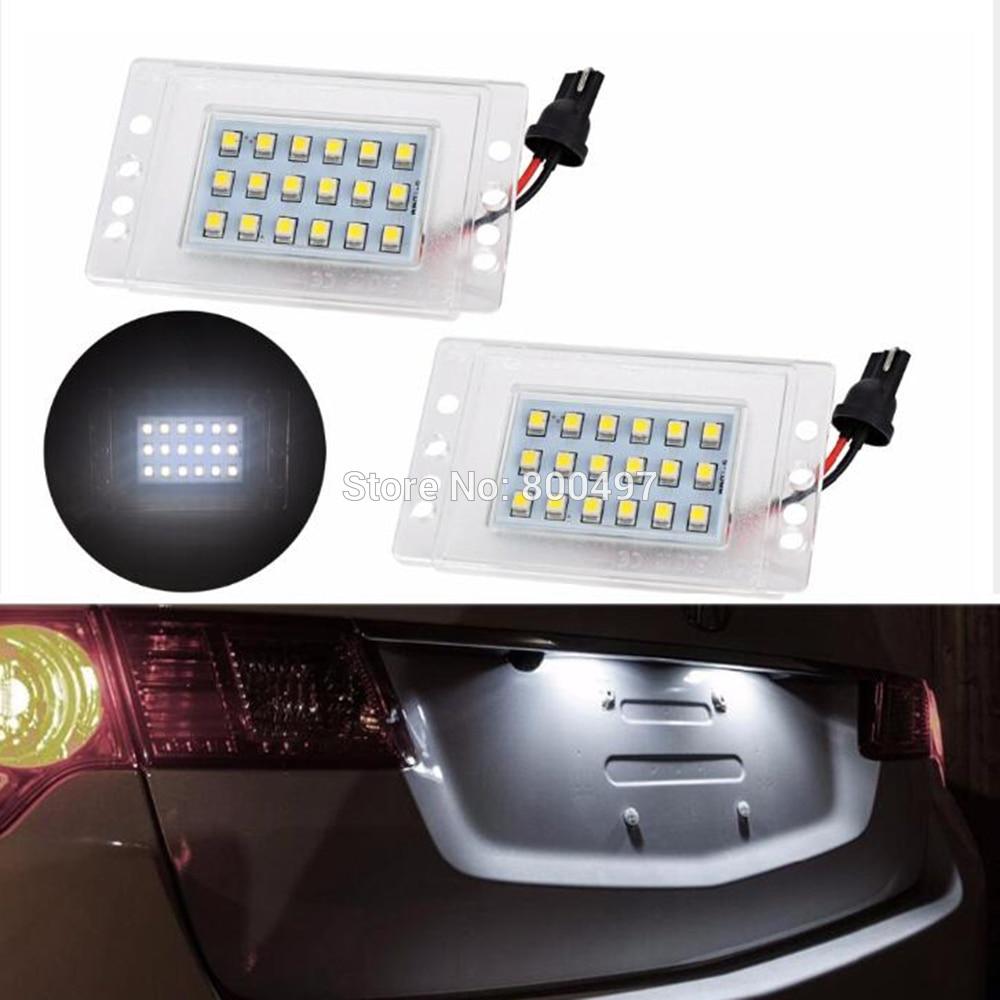 2 x LED Car LED License Plate Lights Lamps White CANBUS OBC Error Free for Volvo 855 1993 -1997 V70 V70 XC 1997 - 2000 led waterproof number white license plate light lamps obc error free 18 led for bmw x3 e83 x5 e53