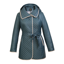 Women blouses coats2016 Female NEW Spring Autumn thin women Padded long Jacket Hot  jacket Collarless quilted diamond lattice