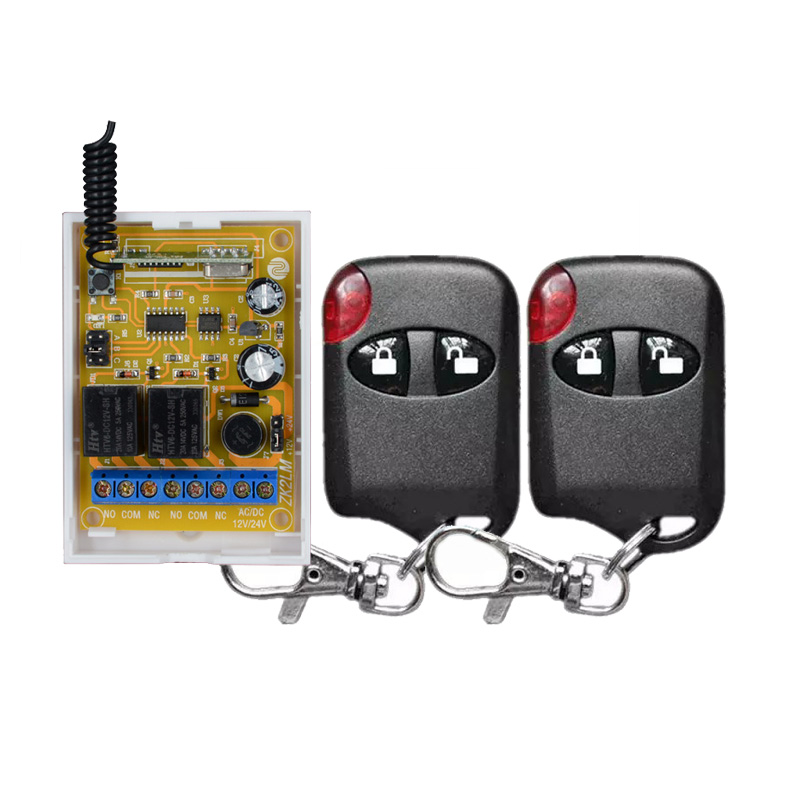 DC 24V 12V Two Way Function 2CH Relay Remote Control Switch Learning Code ASK Wireless Light Switch RF RX TX dc 12v relay remote switch no com nc contact wireless switch 2a relay rf rx normally open close lithium aaa battery supply ask