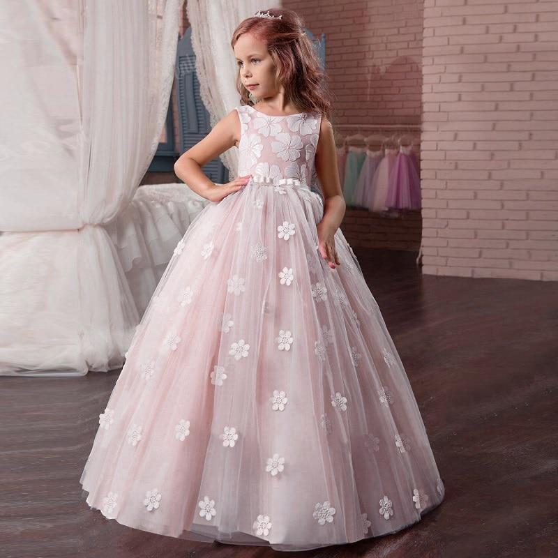 Кружевное платье с длинными рукавами для девочек, держащих букет невесты на свадьбе, на день рождения, банкет Элегантное Длинное белое кружевное платье с бабочкой для девочек - Цвет: pink