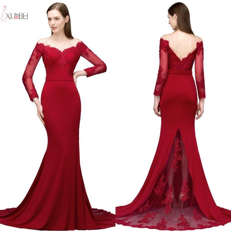 2019 Elegant Burgundy Satin Mermaid Long Sleeve   Bridesmaid     Dresses   V Neck Wedding Guest Party   Dress   vestido madrinha