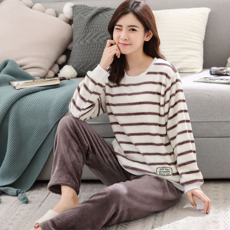 fashion Winter Women   Pajamas   Warm Flannel Cartoon Leisure Home Clothes Women   Pajamas     Set   Coral fleece stripe Girl Sleepwear suit