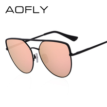 AOFLY BRAND DESIGN Sunglasses Women 2018 Fashion Flat Top Sun Glasses Female Vintage Retro Metal Twin-Beams Shades Mirror UV400