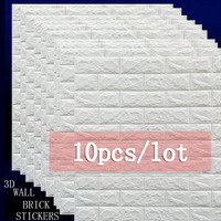 10pcs 70X77cm diy Self Adhesive 3D brick Wall Stickers bedroom Tile Floor Furniture kids sticker covering Wallpaper Background