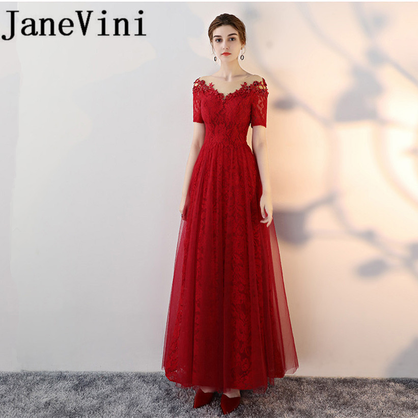 JaneVini 2018 Burgundy Sexy Long   Bridesmaid     Dresses   A-Line Beaded Lace Appliques Sheer Scoop Neck Maid of Honor Gowns Plus Size