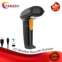 Yanzeo черный W6811 распознавания печати беспроводной 2,4 г Ручной USB 1D лазерный портативный считыватель штрих кода сканер