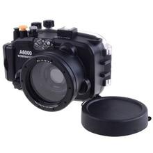 Stock listo para sony a6000 16-50mm meikon 40 m 130ft waterproof case carcasa subacuática cubierta de la cámara de buceo natación