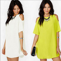 Fashion Summer style brand chiffon mini dress women Strapless Loose beach casual Dresses Plus 3xl solid clothing