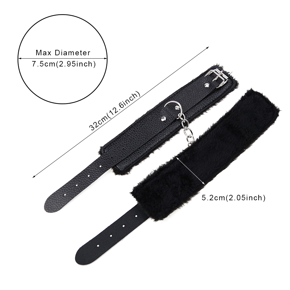 Image 2 - DOMI Adjustable PU Leather Plush Handcuff Ankle Cuff for Couple Restraints Bondage Sex Bondage Exotic Accessories Sex Toy    -