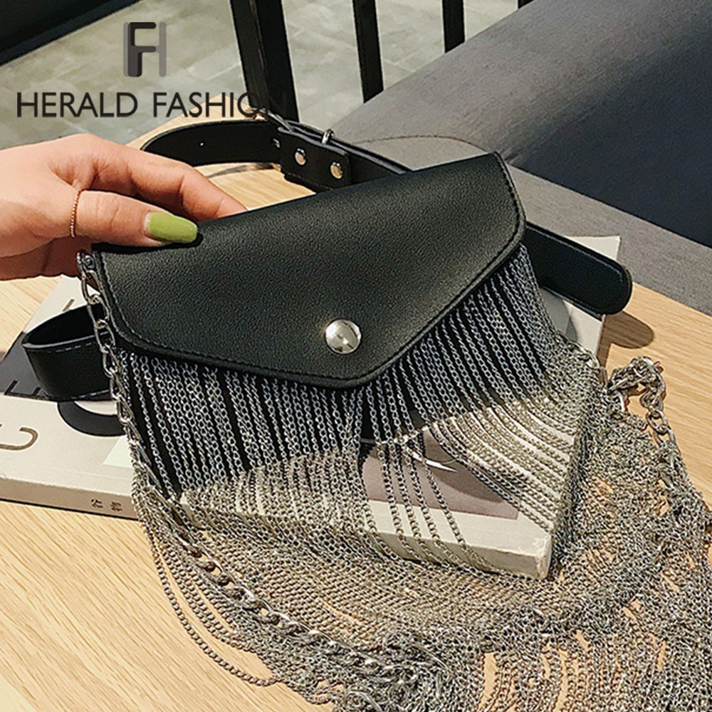 Herald Fashion Women Messenger Bag Quality Leather Chain Metal Tassel Clutch Shoulder Bags Small Ladies' Crossbody Evening Bag