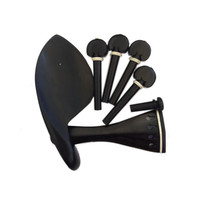 Wholesale Top Quality One Set Of Ebony Violin Chinrest Drawplates Tailpiece And Pegs 4 4 3