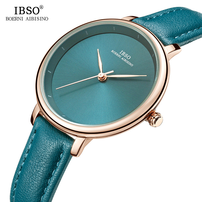 IBSO New Brand Fashion Simple Women Watches 2019 Red Genuine Leather Strap Ladies Quartz Watch Women Waterproof Montre Femme