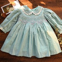 autumn baby smocked dress handmade green girl dresses long sleeve kids clothes fall cotton school children handmade boutiques