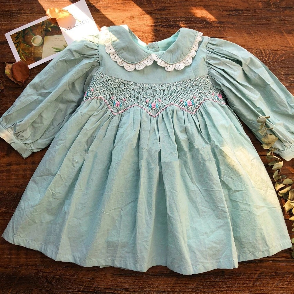 autumn baby smocked dress handmade green girl dresses long sleeve kids clothes fall cotton school children handmade boutiques-in Dresses from Mother & Kids