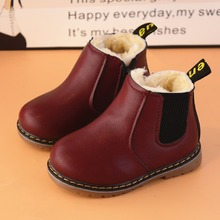 AFDSWG leather kids shoes winter thick warm plush black martin boots kids brown boots snow kids wine red kid boots leather