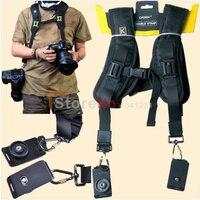 100 New Double Shoulder Belt Strap Black Professional QUICK STRAP For Tow Video Cameras SLR DSLR