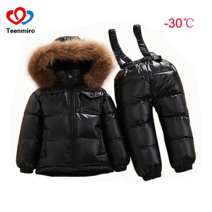 Russian Winter Baby Onesie Kids Duck Down Suit Infant Overcoat Waterproof Jumpsuit Boys Girl Warm Overalls Snow Wear Snowsuit