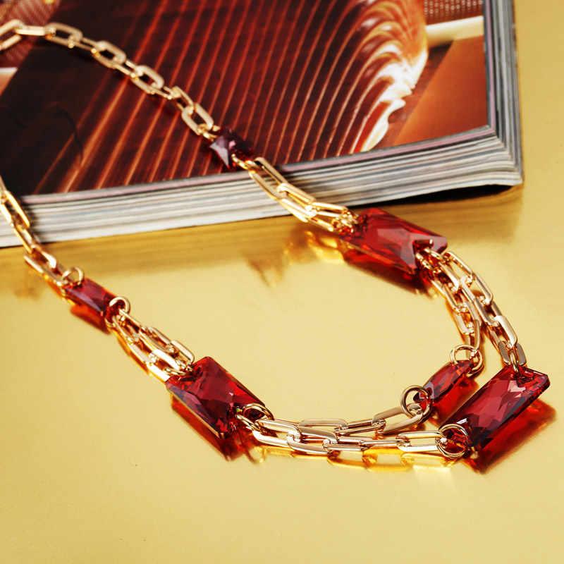 Neoglory Insieme Dei Monili di Cristallo Rosso A Lunga Catena D'oro di Colore Nobile di Stile Della Collana & Orecchini Impreziosito da Cristalli Swarovski